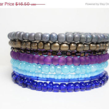 ON SALE Stacked Bracelet Blue Purple Gray Memory Wire Beaded Wrap Color Block Summer Fashion