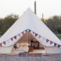 Sand Colored Vintage Style - Bell Tent - 16.5 feet - Glamping - Canvas Festival Tent - Tipi, Yurt, Chill tent Music Festivals Boho bohemian