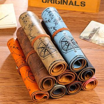 creative boy girl simple pirate portable Leather rolls Pencil Case pen curtain  for student Storage office school supplies