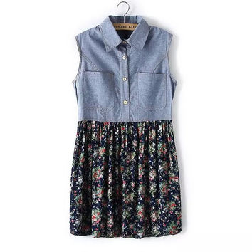 Summer Women's Fashion Vest Dress With Pocket Denim Patchwork Floral One Piece Dress [5013325636]