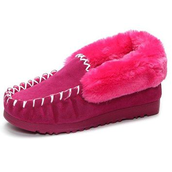 Fur Lining Flat Slip On Candy Color Warm Boots For Women
