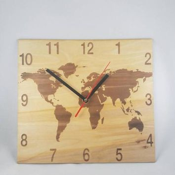 World Map Clock, wooden clock