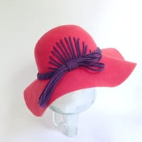 Floppy Red Hat - Wide Brim - Fancy Design - Wool Felt Lady's Cap - Purple Felt Ribbon - Red Hat Society Attire