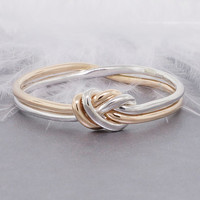 Love knot ring, gold and silver ring, promise ring, commitment ring, engagement ring, nautical ring