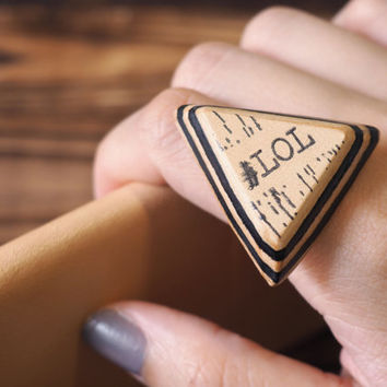 LOL Leather Ring - Laugh Out Loud Letters, Triangle Hand Stamped, Acronym, Text talk, Custom initial, texting abbreviation #Black