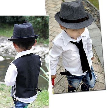 Hot Fashion Cute Style Kid Children Gentleman Woolen Hat Cap Headwear Grey/Black -MX8
