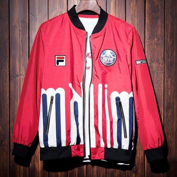 FILA 2019 new street fashion men's sports baseball uniform jacket Red