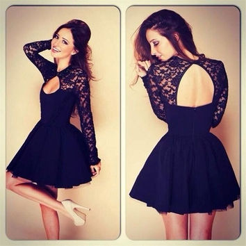 Black lace backless sexy fashion summer dress long-sleeved hollow out the dress = 1931439556