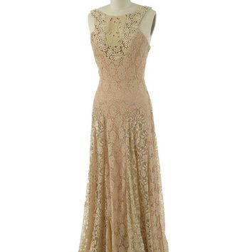 Ecru Blush Beige Floral Lace Gown Maxi Dress