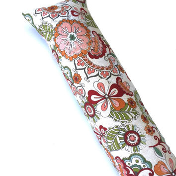 Lumbar Back and Neck Support Roll -Lumbar Pillow - Neck Pillow - Aromatic Cedar and Lavender - Ivory Floral