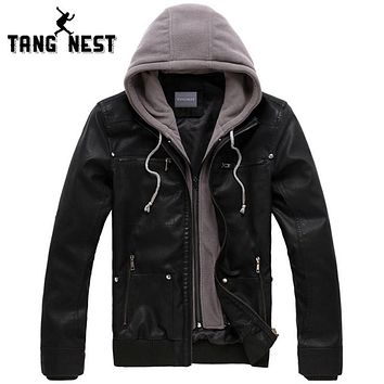 TANGNEST 2016 New Men's Leather Jacket Hooded Hat Detachable Fashionable Men PU Leather Jacket Warm Windbreaker Jacket MWP261