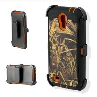 Sun Wireless Robot Marsh Camo Phone Case With Holster and Orange Trim- Samsung Galaxy S4 - For Duck, Goose, Pheasant Hunters