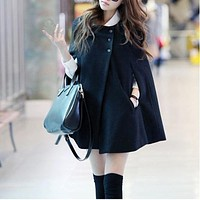 Women Vogue Black Color Batwing Wool Poncho Winter Warm Coat Loose Cloak Cape Jacket Parka Outwear