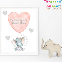 Please Sign our Guestbook Sign, Elephant Baby Shower Guest Sign In, Printable Guestbook Baby Shower, Watercolor, Girl, Pink Gray, 8x10, ELWP