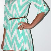 Missoni Chevron Zig Zag print high low dress pastel MINT S M L *NEW* Free Ship