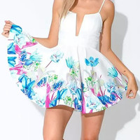 White Floral Deep V-Neckline Low Cut Back Skater Dress