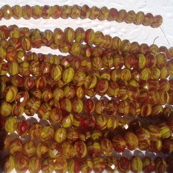 Sale Czech Glass Bead-6 x 9 Chartreuse/ Crystal Red/ Picasso FULL strand 25 beads faceted-Jewelry supplies, pressed rondell-fire polish-Whol