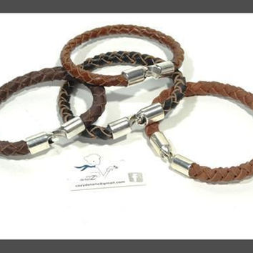 SALE unisex braided leather bracelet * mens bracelet * brown bracelet * handmade bracelet with zamak * gift for him * father's day gift