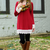 Lovely In Lace Top, Burgundy