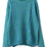 ROMWE | ROMWE Hollw-out Asymmetric Blue Cardigan, The Latest Street Fashion