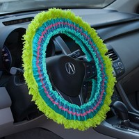 Steering  Wheel  Covers:  Turquoise  with  Green  Fringe  Steering  Wheel  Cover  From  Natural  Life