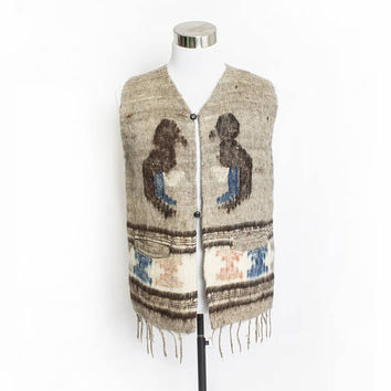 Vintage 1970s Wool Vest - Beige Fringe Bird Ethnic Hippie Boho - Medium
