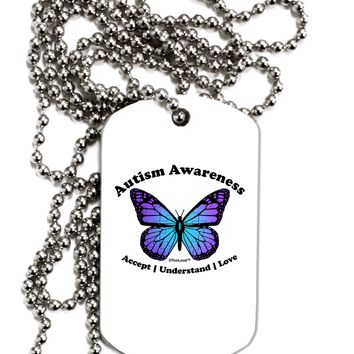 Autism Awareness - Puzzle Piece Butterfly Adult Dog Tag Chain Necklace by TooLoud