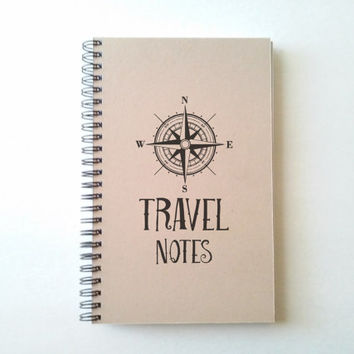 Travel Notes, 5X8 Journal, spiral notebook, wire bound diary, sketchbook, brown kraft, white, handmade gift for writers, adventure traveling
