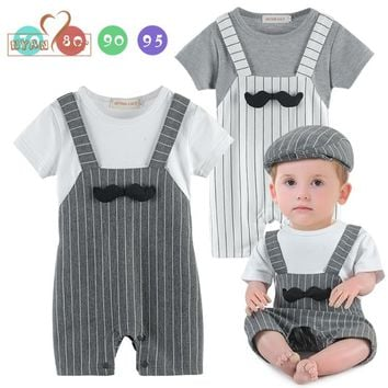 NYAN CAT Baby Mustache romper 2 colors white gray summer short sleeve jumpsuit unisex baby clothes costume clothing