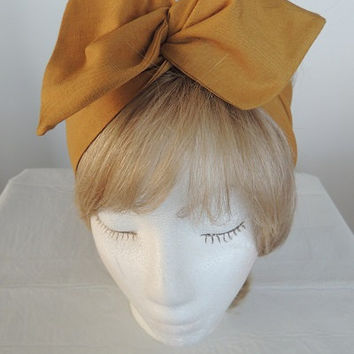 Mustard Yellow Wire Headband, Twist Head Scarf, Bandana, Dark Yellow Head Band, Hat Band, Head Wrap, Dolly Bow, Hair Tie,  Hair Band, Retro