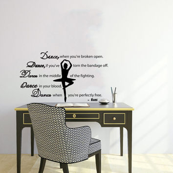 Quote About Dance Life Ballet with Dancer Ballerina Vinyl Decal Home Wall Decor Dance School Studio Stylish Sticker Unique Design Room V509