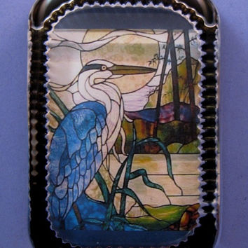 Oriental Heron Stained Glass Window Heirloom Rectangle Glass Paperweight
