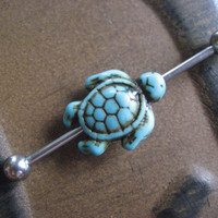 Turquoise Sea Turtle Industrial Barbell Scaffold Puercing Bar Ear Earring Ring Jewelry