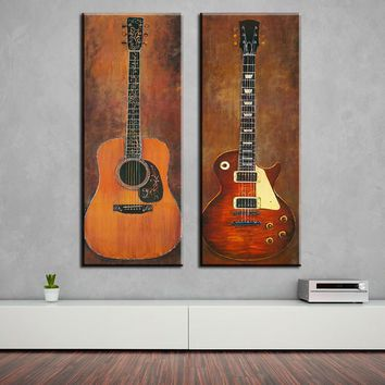 Art Oil Painting 2 piece music studio room guitar top decoration