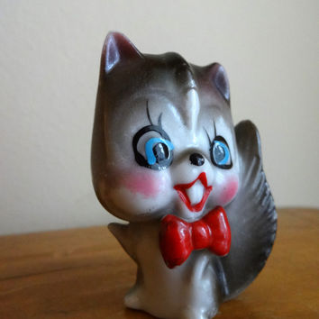 "Antique 1930's miniature porcelain grey / white cat figurine wearing a red bow tie - Japan - 2.5"" tall"