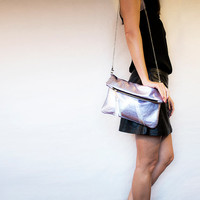 Holographic Leather Purse // Metallic Pink Blue Silver // Fold Over Clutch // Wedding // Shoulder Crossbody Bag