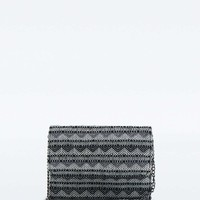 Tapestry Chain Wallet in Black and White - Urban Outfitters