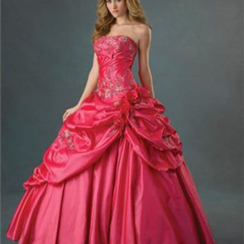 Sophisticated Strapless Taffeta Flower Ball Gown Quinceanera Dress QD079