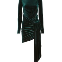 Side Drape Green Velvet Mini Dress