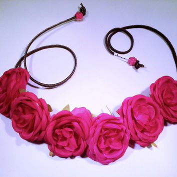 Pink Rose Flower Headband, Flower Crown, Flower Halo, Festival Wear, EDC, Coachella, Ultra Music Festival, Rave