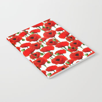 Red Poppy Pattern Notebook by Tanyadraws