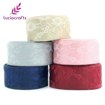 Lucia crafts 40mm Satin Flowers Lace Ribbons Trim DIY Handmade Apparel Sewing Wedding Fabric Materials Accessories 050025077