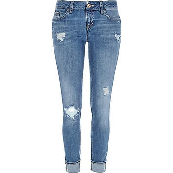 River Island Womens Mid wash ripped Daisy slim jeans
