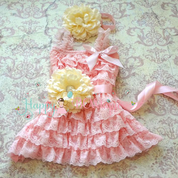 Ivory Pink Flower Dress set, Flower girls dress, ruffle dress,flower lace dress,girls dress,Birthday ,baby girl,Pink dress,wedding flower