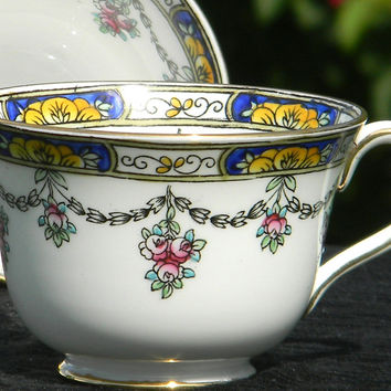 One Celebrate Hand Painted - Made in England Floral Teacup - No Saucer - Orphan Tea Cup J-1247