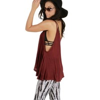 Sale-burgundy On Repeat Tank Top