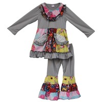 Winter Kids Clothes Grey Floral Girls Clothing Sets Pocket Dress and Ruffle Pants Sets Baby Costume Fall Boutique Outfits F096