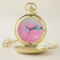 Blue Flamingos on a Pink Lake Pocket Watch