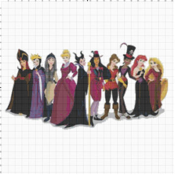 Disney Princess dressed as Disney Villains Cross Stitch Pattern PDF (Pattern Only)