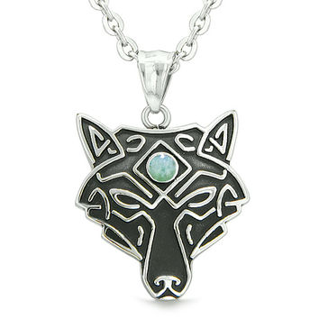 Celtic Wolf All Seeing Third Wisdom Eye Magic Protection Amulet Green Quartz Pendant 22 inch Necklace